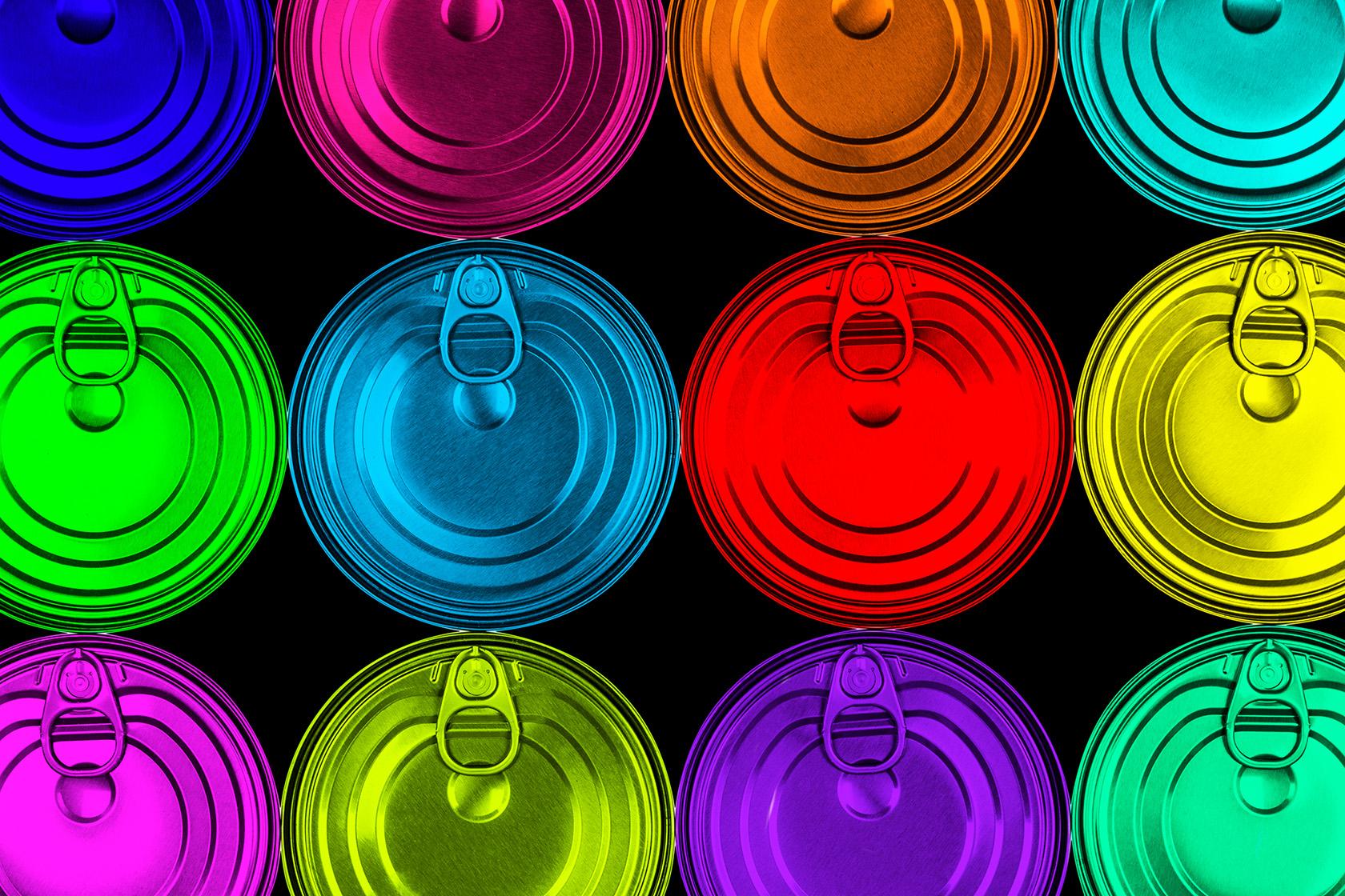 coloured aluminum cans